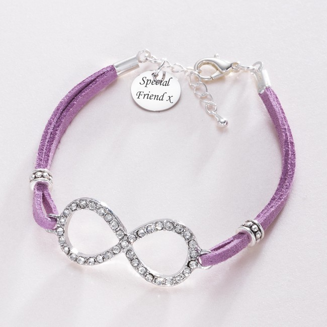 infinity link friendship bracelet with engraving